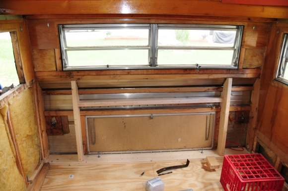 Those new studs are 2x6's, so very strong. We cut them to match the profile of the curvy back of the trailer. It had to match the existing aluminum shape. Notice that the problematic beam is gone.